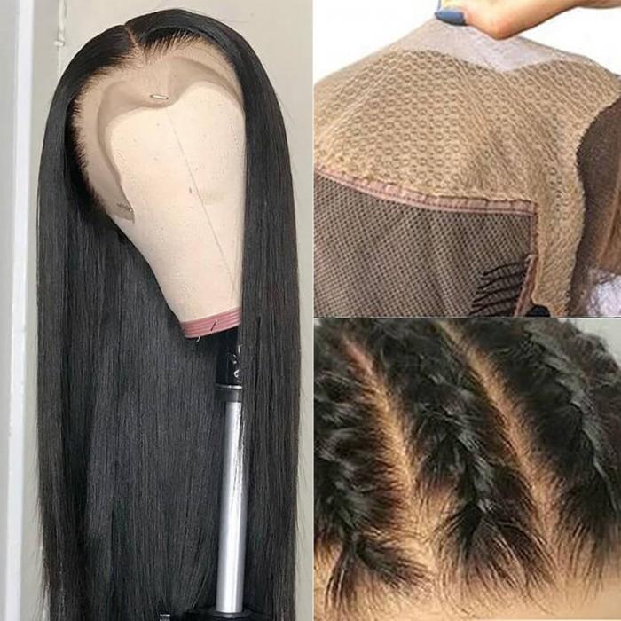 UNice Fake Scalp Droit Humain Cheveux Perruques pour Femmes Raie au milieu Silky Droit Dentelle Closure Perruque lié à la main Naturel Hairline Bettyou Series