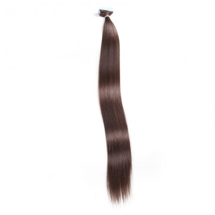 UNice 20pcs 50g Droit Tape In Cheveux Extensions #2 Brun sombre 100% Vierge Cheveux