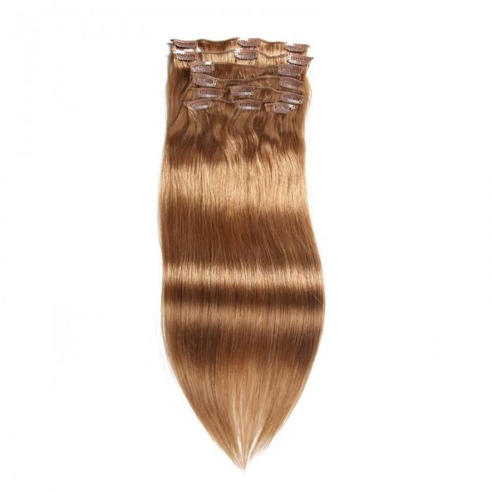 UNice 115g #12 Marron Vierge Cheveux Extensions Clip In Cheveux 8Pcs/set