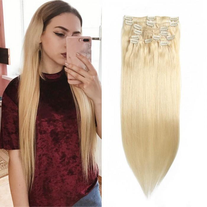 UNice 100g #613 Blonde la plus légère Clip In Cheveux Extensions Vierge Cheveux Extensions 8Pcs/set