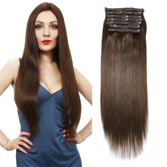 UNice #4 Brun moyen Cheveux Extensions Clip In Cheveux 8Pcs/set
