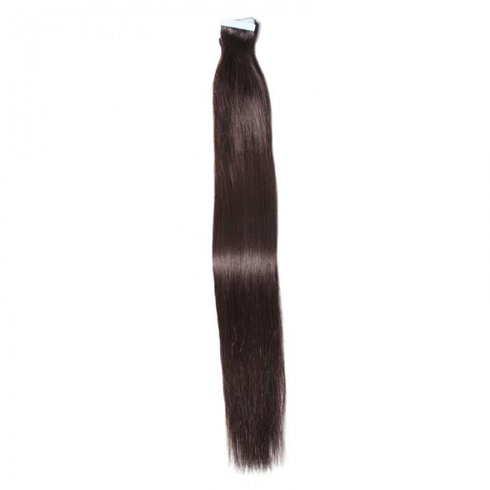 UNice 20pcs 50g Droit Tape In Cheveux Extensions #1B Naturel Noire 100% Vierge Cheveux