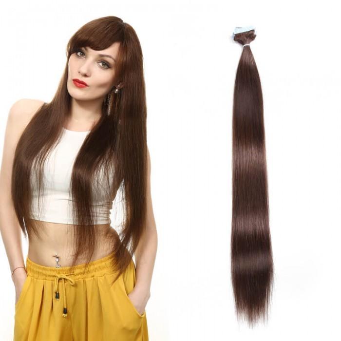 UNice 20pcs 50g Droit Tape In Cheveux Extensions #4 Brun moyen 100% Vierge Cheveux
