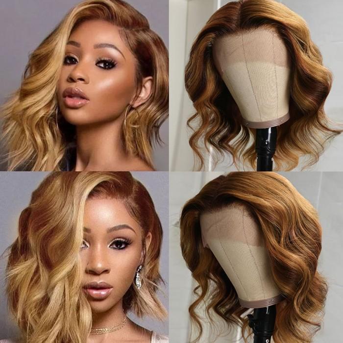 UNice Blonde Balayage Lace Front Célébrité Wave Style Perruques