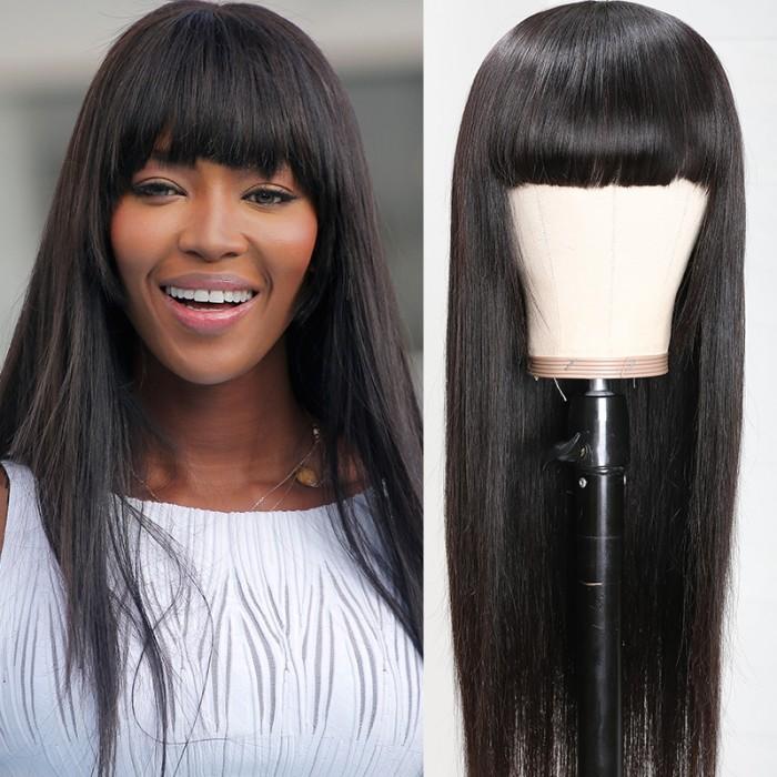 UNice Pas Cher Neat Bang Noir Droite Perruques de Cheveux Humains avec Frange 150% Densité Machine Made Virgin Remy Perruque de Cheveux Bettyou Série