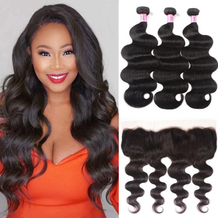 Unice cheveux 3 Bundles Body Wave cheveux avec dentelle Frontal Closure Série Icenu