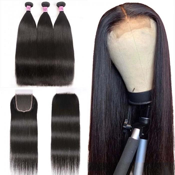 UNice Cheveux Lisse Raides en 5x5 HD Lace Closure avec 3 Paquets de Tissage Naturel Vierge Cheveux Humains Lace Transparent Icenu Série