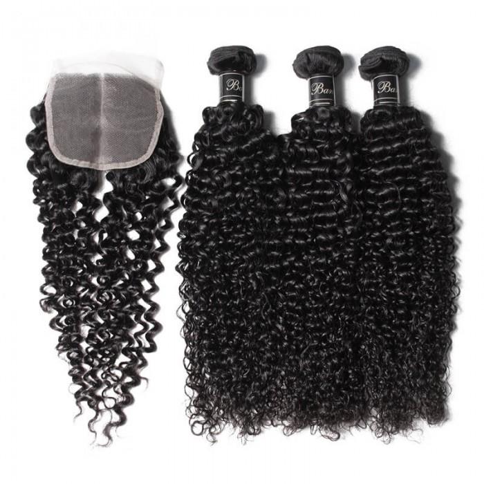 UNice cheveux bouclés crépus 3 faisceaux avec fermeture en dentelle 4x4 Banicoo Séries