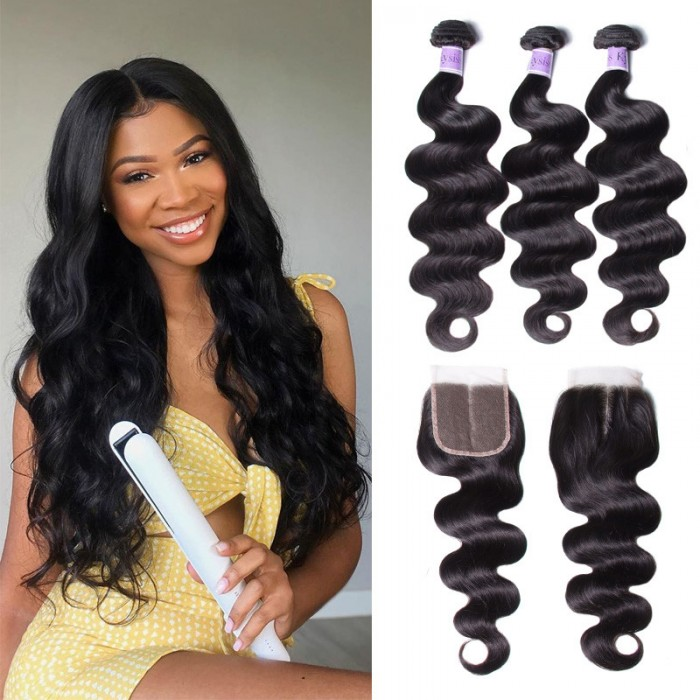 UNice Cheveux Kysiss Série Malaisien Body Wave Virgin+  3 Paquets cheveux humains avec Closure en dentelle pas chers