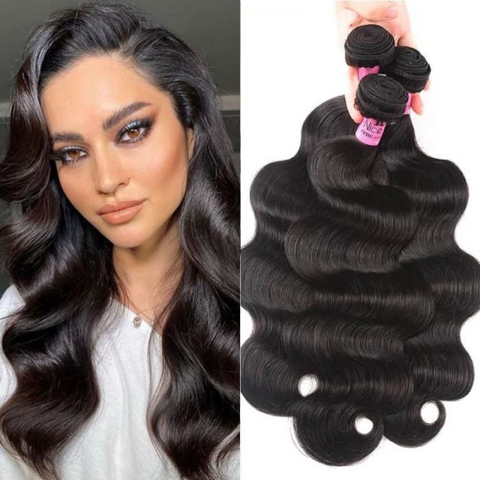 UNice cheveux Icenu séries 100% humain vierges cheveux 3 paquets vagues corporels des cheveux vierges