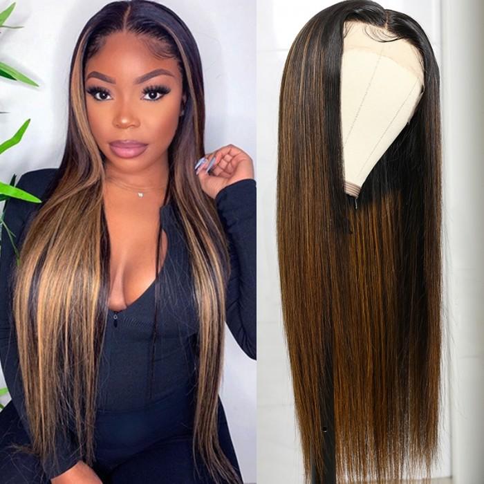 UNice Ombre Couleur #FB30 Highlight Blonde Droit Humain Cheveux Lace Front T Part Perruques pour Femmes Bettyou Series