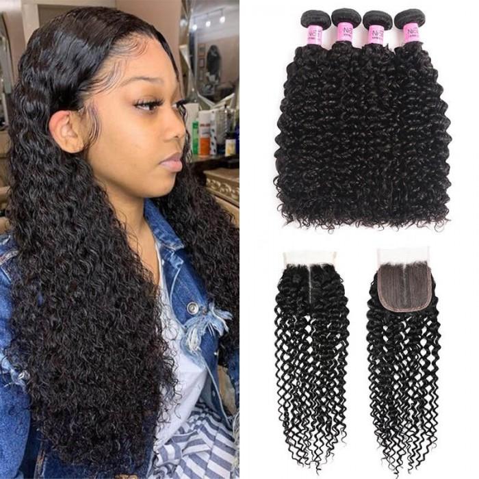 UNice Jerry Curly Bouclé Humain Cheveux 4 Paquets avec 4X4 Pu Scalp Closure Raie Libre Vierge Cheveux
