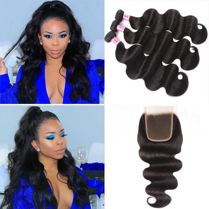 UNice Cheveux Icenu Série 3 Bundles Vague de corps brésilienne avec la fermeture de dentelle