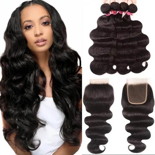 UNice Hair 4pcs Brazilian Virgin Hair Body Wave Hair Bundles With Lace Closure