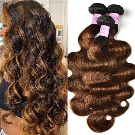 UNice Brown Balayage Highlight Human Hair Weave #FB30 Body Wave Hair Bundles