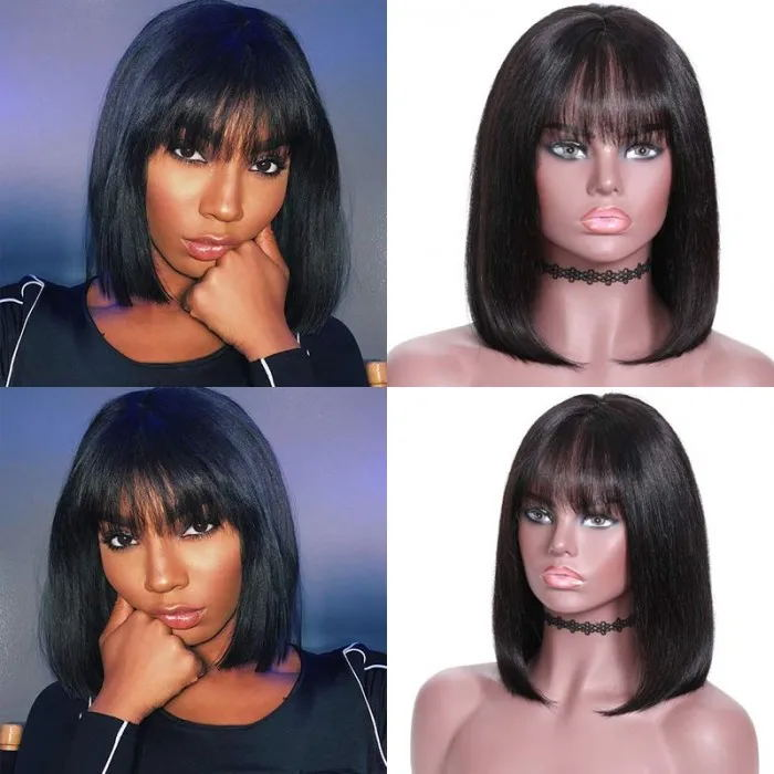 Bob Wig Lace Front Realistic Human Virgin Hair Wigs With Bangs