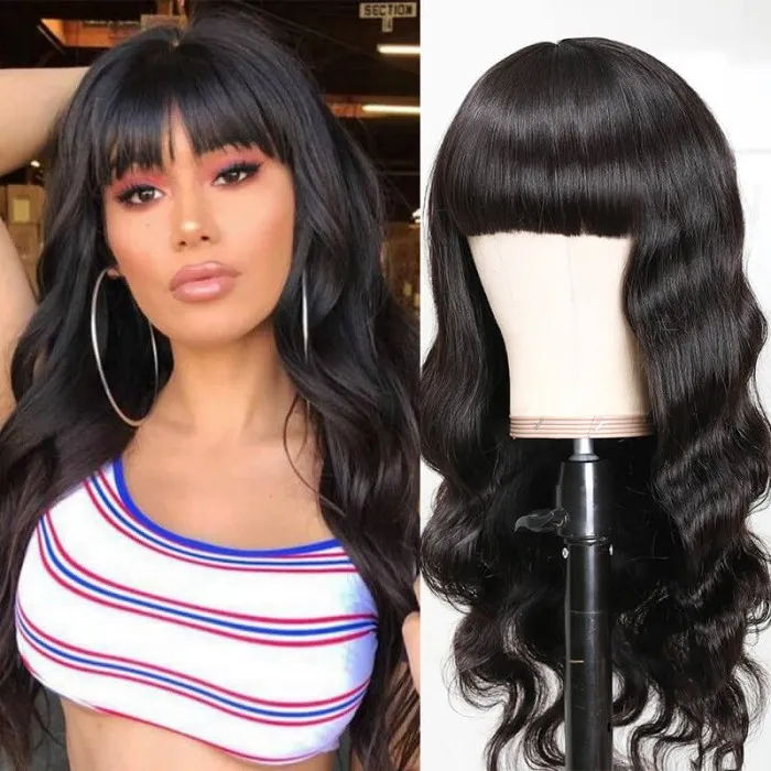Body Wave Hair Human Hair Wigs with bangs