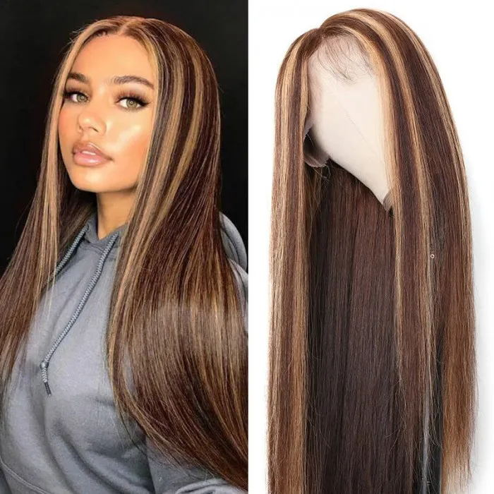 UNice hand tied lace hair wig part line straight hair wigs