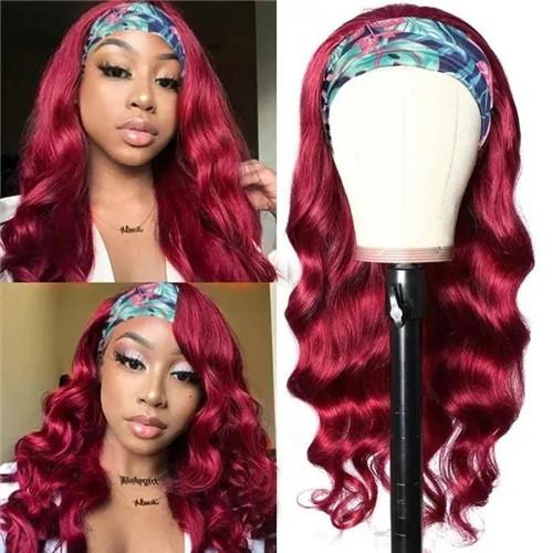 burgundy body wave headband wig