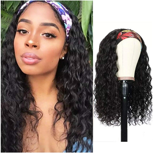 Natural wave headband wig