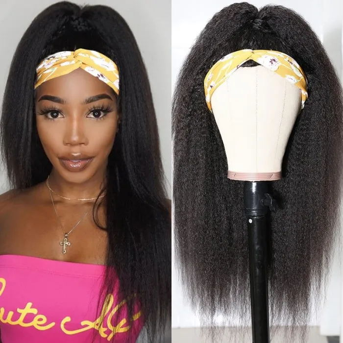 Kinky Straight Human Hair Half Wigs Straight Half wig Clip in Human Hair Extension