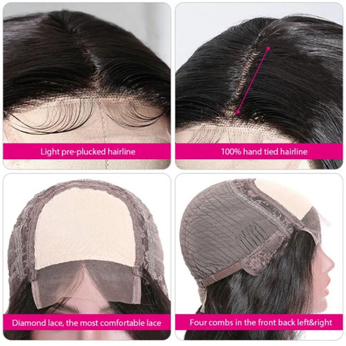Feature of human hair lace part wig.