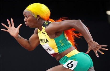 shelly-ann-fraser-pryce-yellow-and-orange-ombre-ponytail