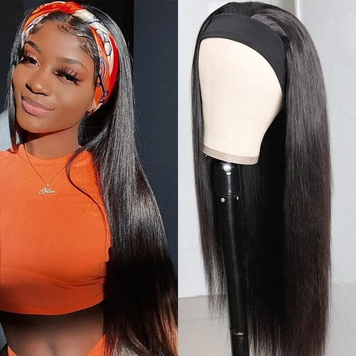 Straight Human Hair Wig Glueless None Lace Headband Wig