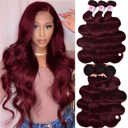 Body Wave 3 Bundles Burgundy Hair