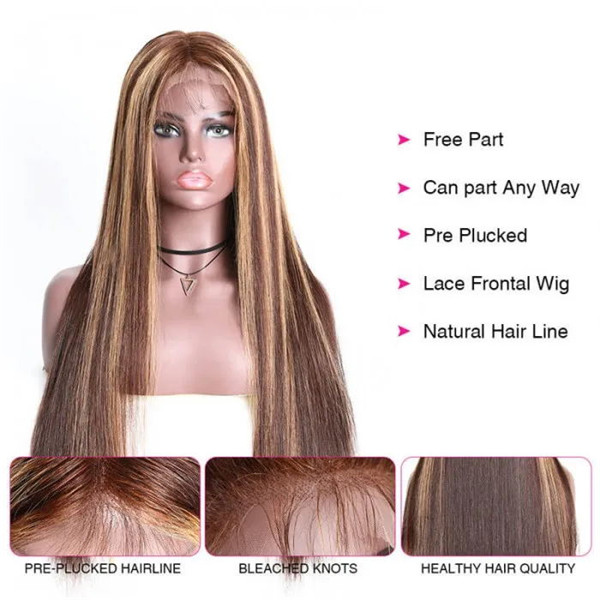 straight human hair highlighted wig