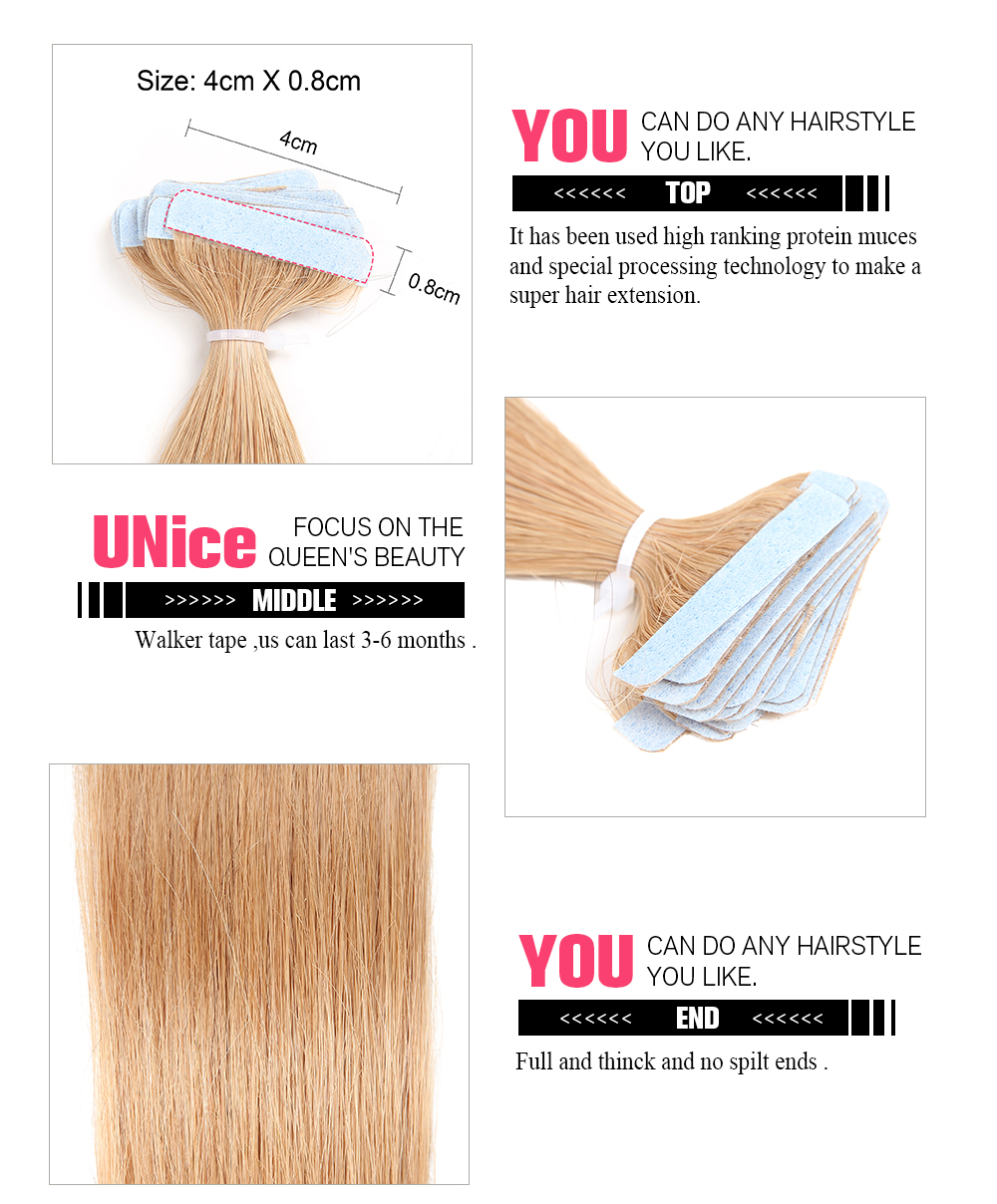 UNice 20pcs 50g Straight Tape In Hair Extensions 27 Strawberry