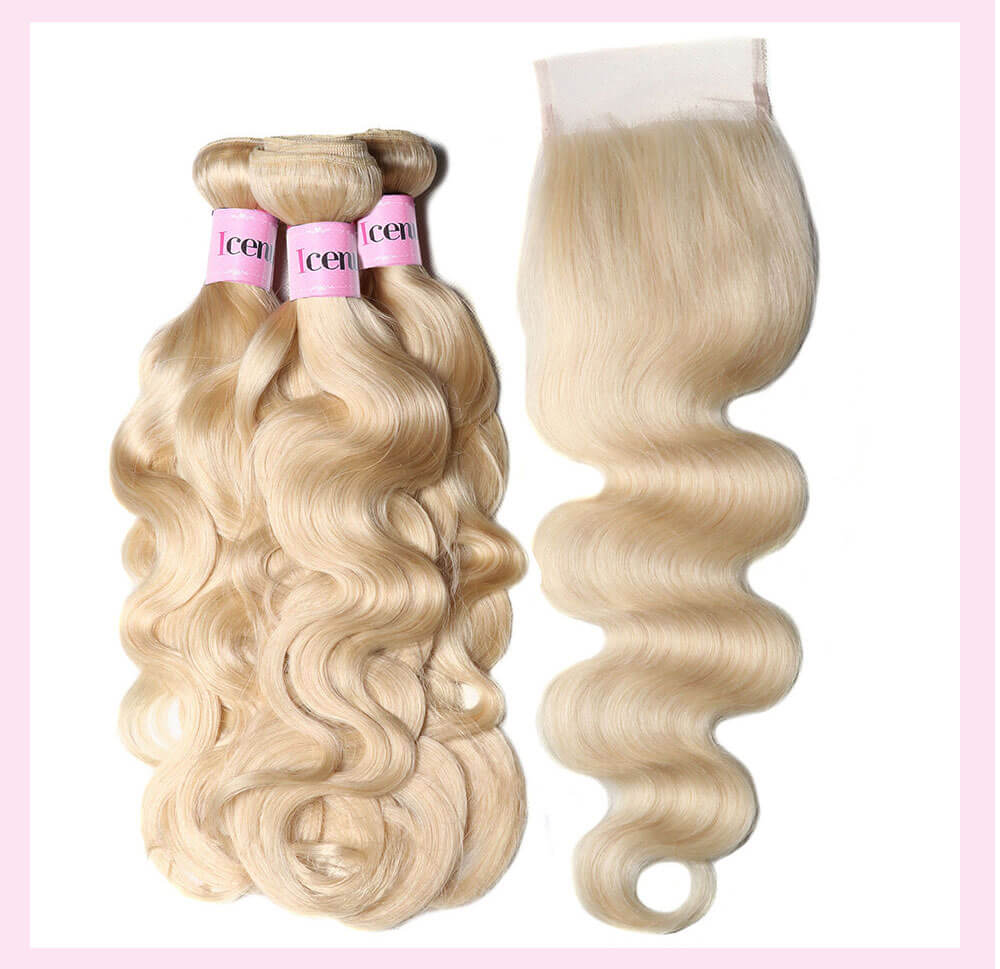 UNice 100% Virgin Human Hair 3PCS 613 Blonde Color Body Wave With 4x4 Lace Closure