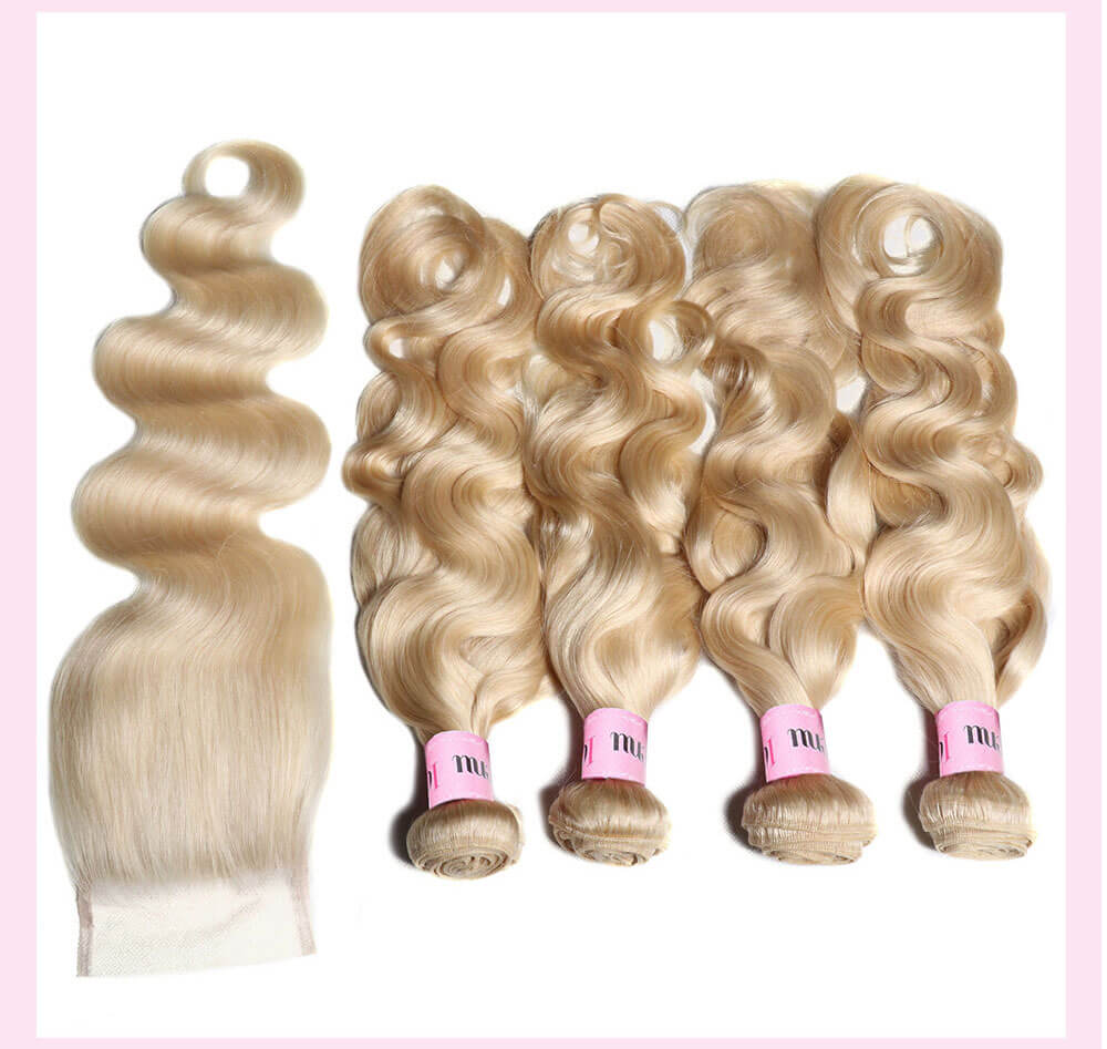 UNice Hair 4 Bundles Body Wave Hair Weft With 4x4 Lace Closure 100% Human Hair