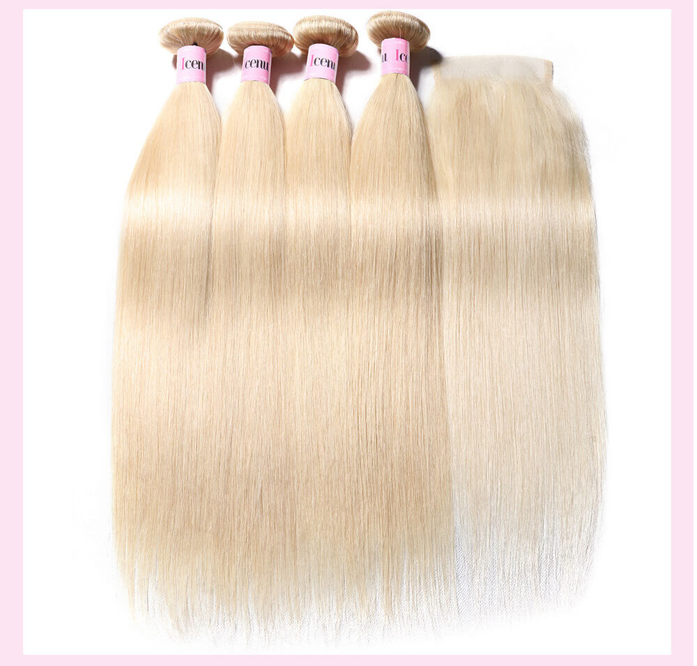 UNice 4PCS 613 Blonde Straight Virgin Hair Weave With 4x4 Closure