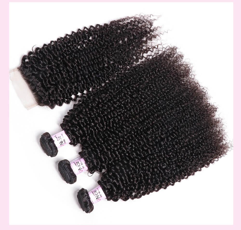 UNice Hair Icenu Series Best Cheap 7A Kinky Curly Virgin Hair 4x4 inch Lace Closure With 3 Bundles Virgin Hair