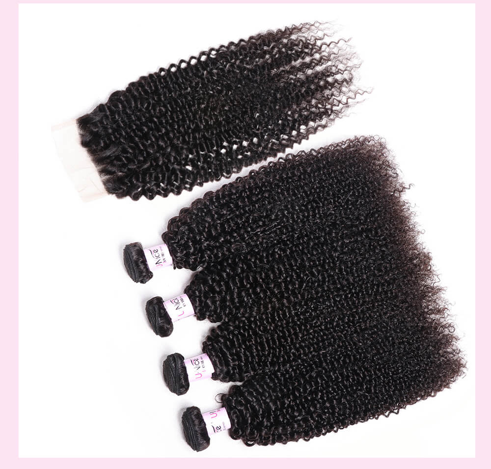 UNice Hair Icenu Series 4 Bundles Virgin Hair Kinky Curly With 4x4 inch Lace Closure