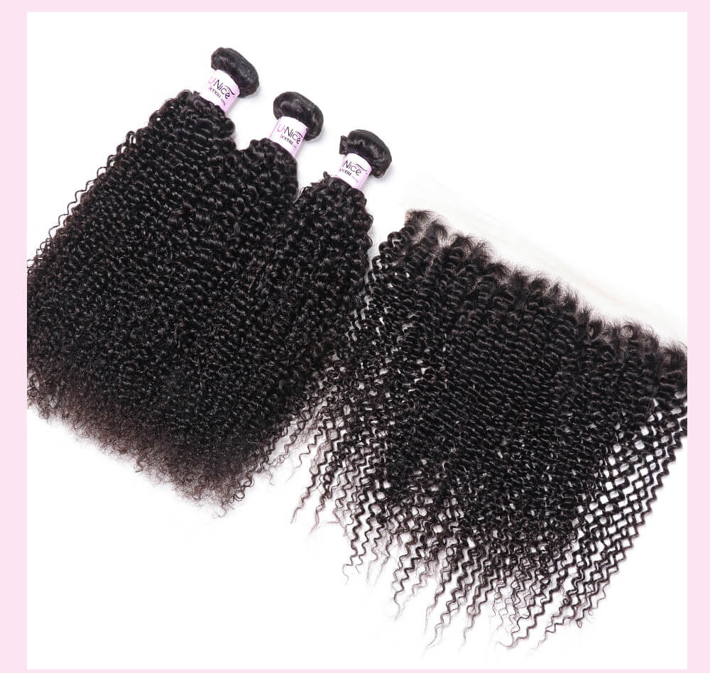 UNice Hair Icenu Series 100% Virgin Hair Kinky Curly 3PCS With 13x4 Lace Frontal Closure