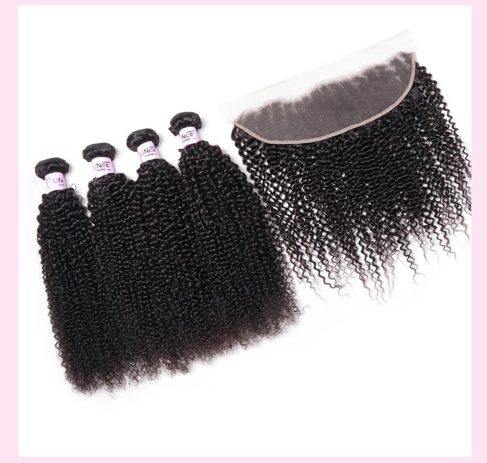 UNice Hair Icenu Series 4pcs Human Kinky Curly Hair With 4x13 Lace Frontal Hair