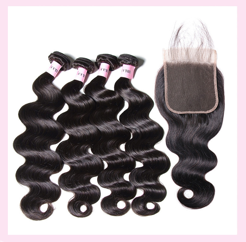 Peruvian Body Wave Lace Closure Human Hair Weave