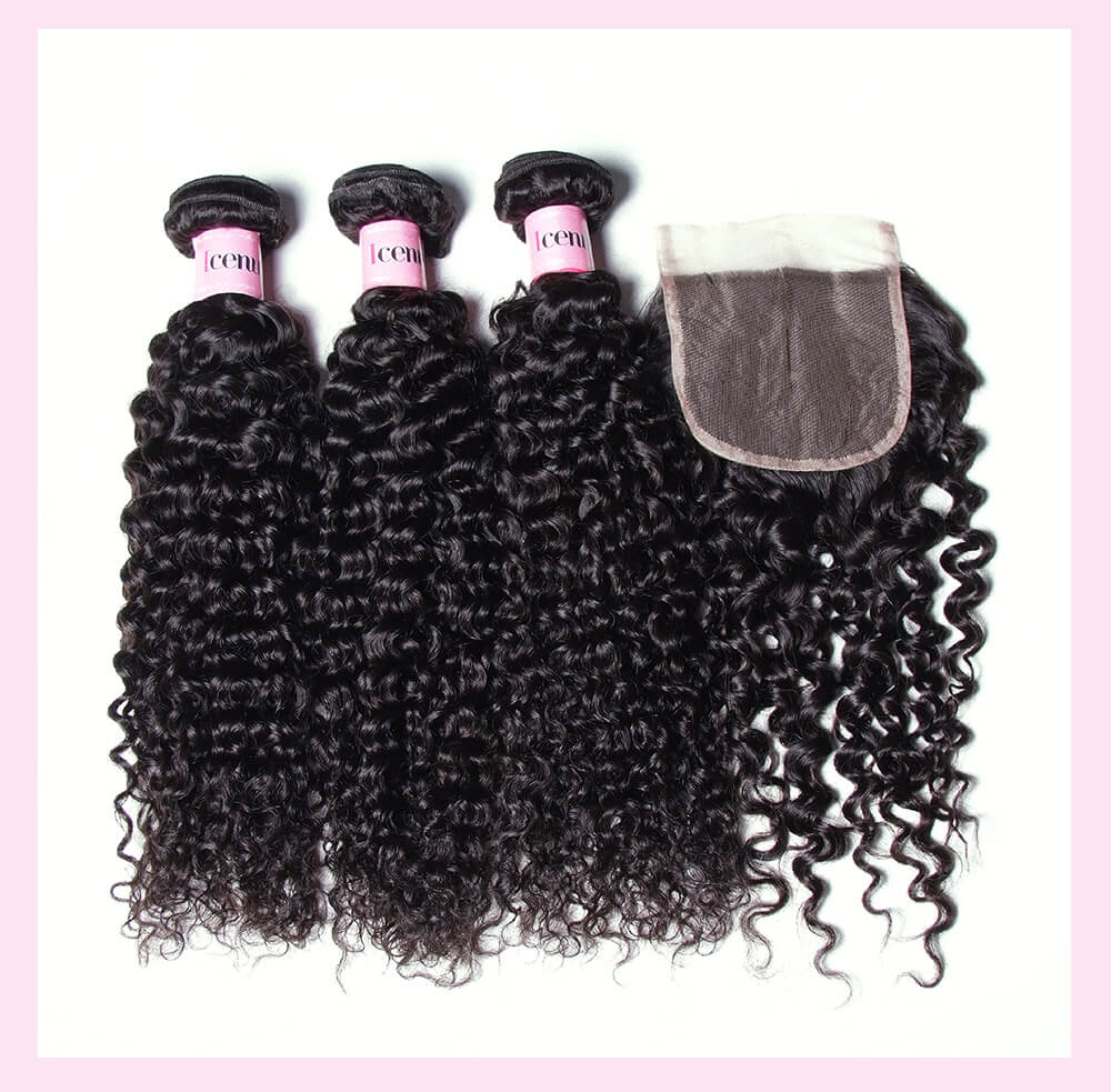 Jerry Curly Human Hair Weaves With Closure