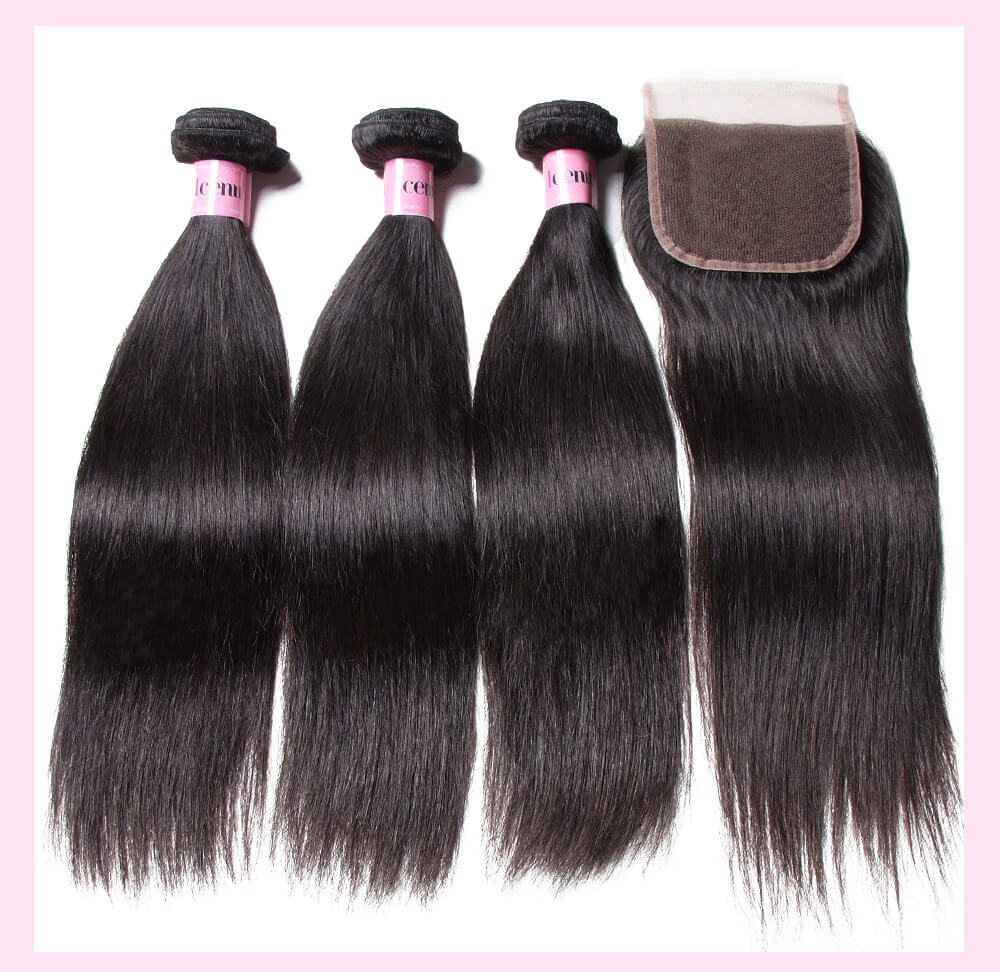 Brazilian Straight Virgin Hair With Lace Closure