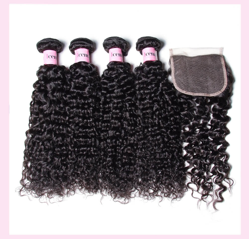 Indian Jerry Curly Human Hair Weaves With Closure