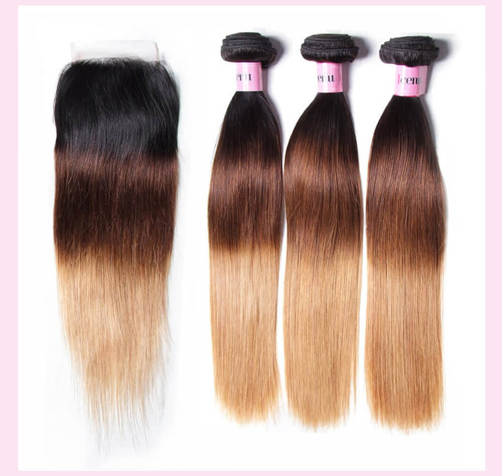 Ombre Straight Virgin Hair With Closure