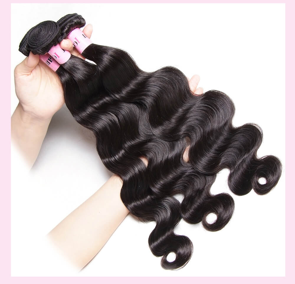 UNice 7A Virgin hair Body Wave Bundles With Closure