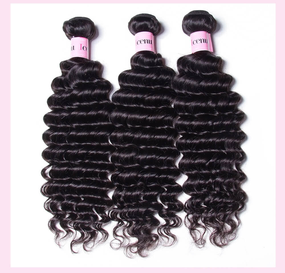Deep Wave Hair Weft With Lace Frontal Closure
