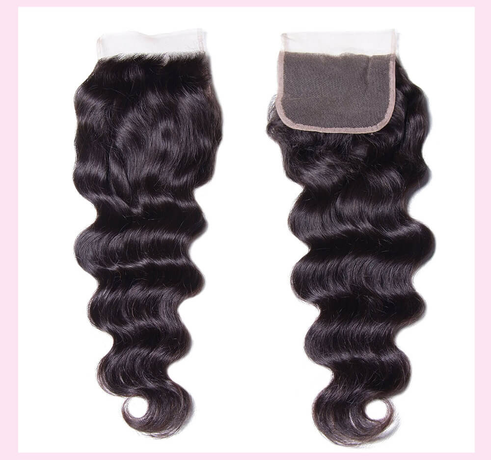 Virgin Hair Natural Wave With Lace Closure Human