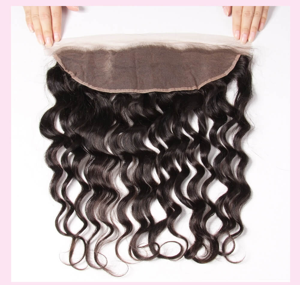 Natural Wave Hair Weft With Lace Frontal Closure