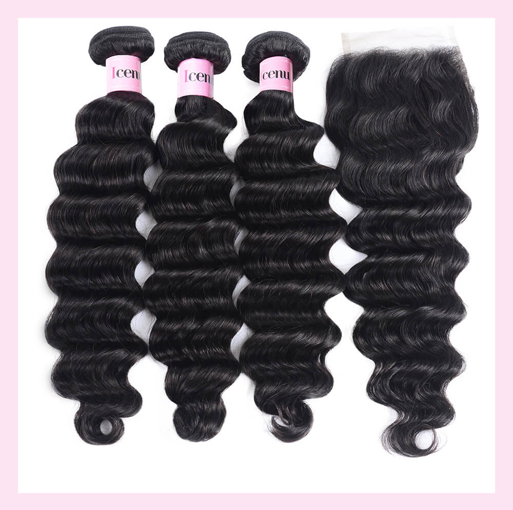 4 Bundles Loose Deep Wave Cheap Human Hair With Lace Closure