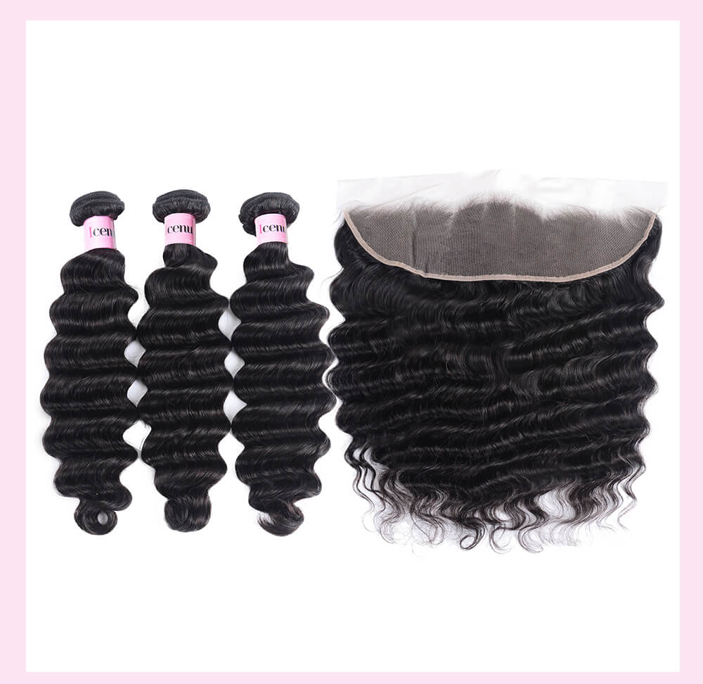 4 Bundles Loose Deep Wave Cheap Human Hair With Frontal Closure