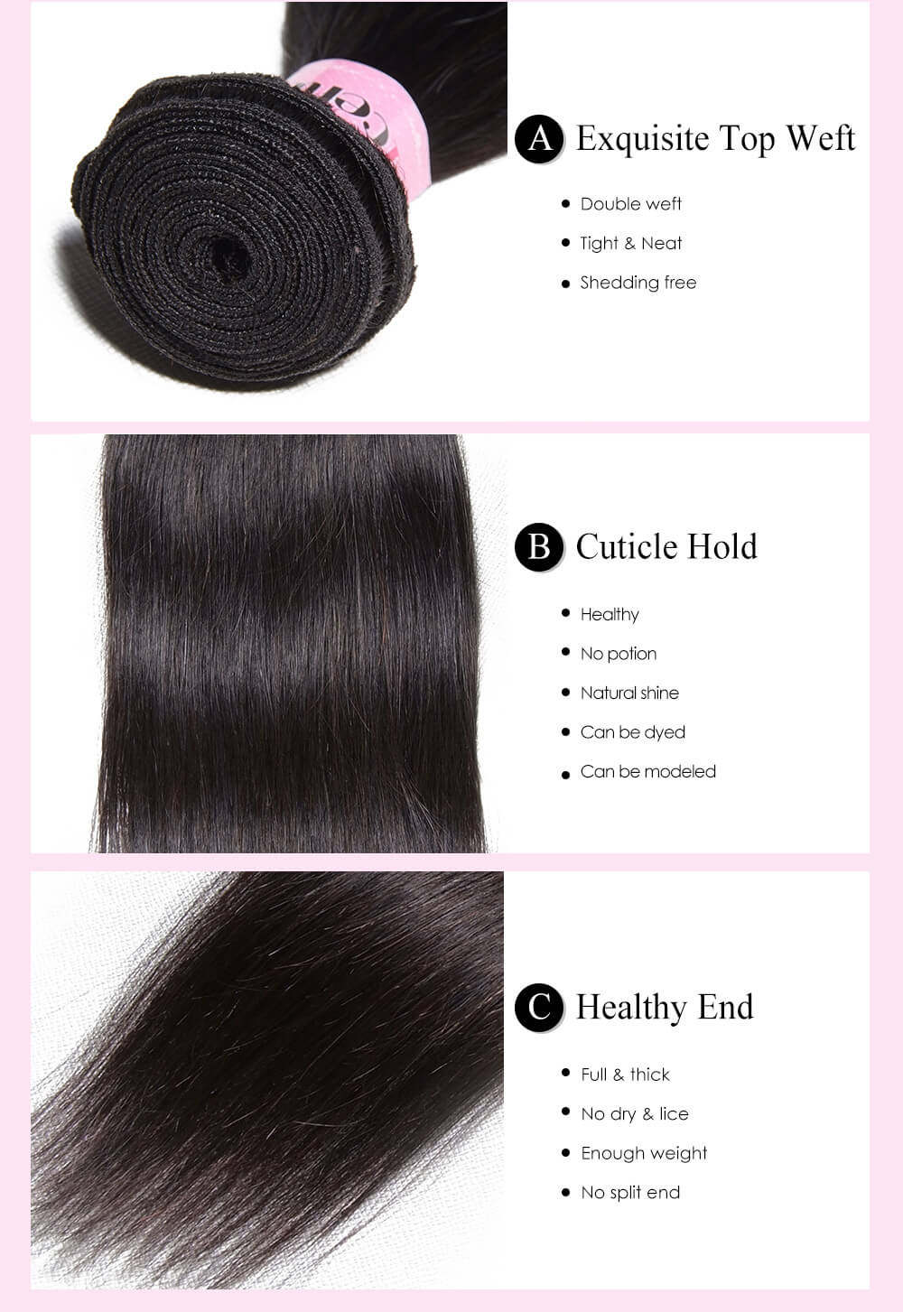 Brazilian Human Virgin Hair Straight 3 Bundles